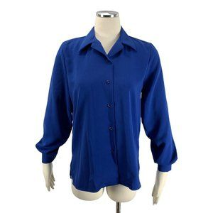 Linden Gray Small Blue Button Front Blouse Career